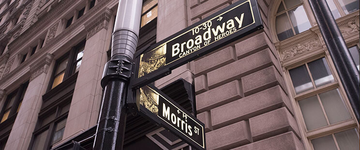 Street Signs on the Corner of Broadway and Morris St